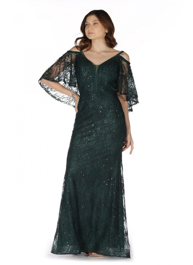 Pierre Cardin Arkası Pelerinli Uzun Abiye Elbise Yeşil